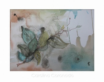 AUTUMN LEAVES, Original Watercolor Painting, Leaves, Handmade, Original Art by Carolina Coronado