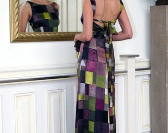 silk satin evening gown graphically printed