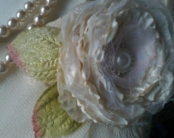Fabric flower,brooch,corsage,head band,shabby chic,hand made,silk,rose