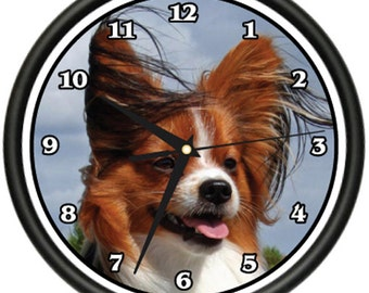 Papillion Wall Clock Dog Doggie Pet Breed Gift