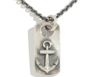 Anchor Dog Tag Pendant