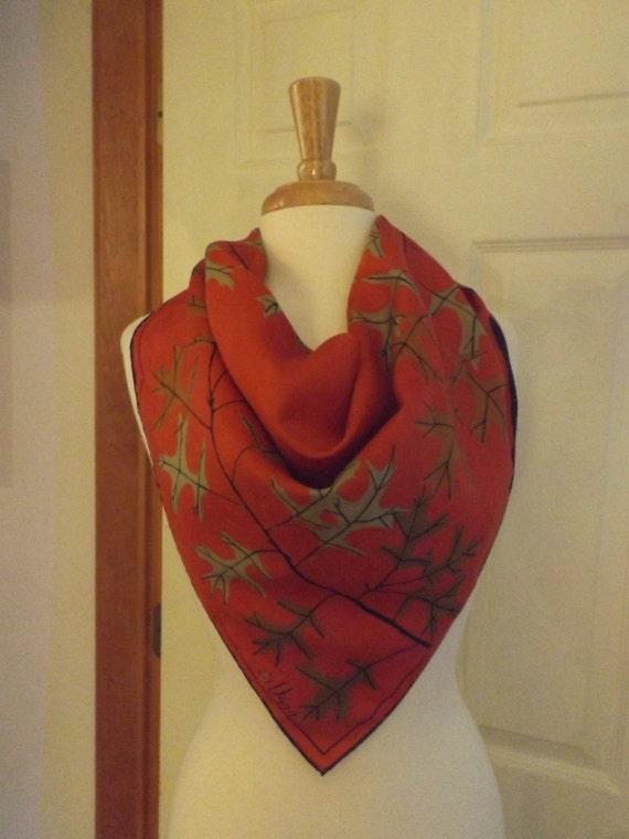 vera neumann ladybug logo leaf square scarf designer signed