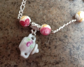 Teapot Necklace and Teacup Earrings