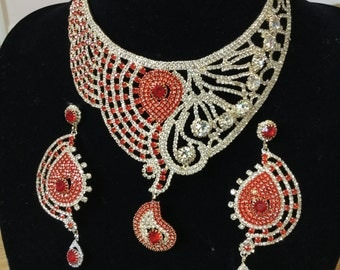 Indian Pakistani jewellery gold plated chain necklace earrings ethnic CZ red white party Bollywood wedding bridal set