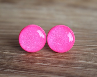 Pink Stud Earrings - HOT PINK FLASH - Pink earrings - Pink studs - Surgical Steel Posts.