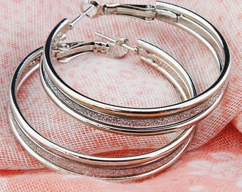 Big Hoop Earrings,Silver Plated,Statement Fashion, Gold Frosted,Statement Fashion