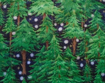 Altar cloth Yule Modraniht mid-winter soltice evergreen trees in a midnight forest