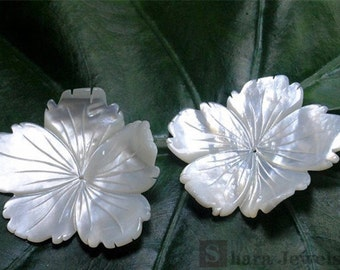 Shell flowers, natural mother of pearl shell, hand carved flower beads