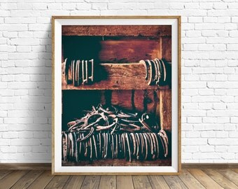 "rustic wall art, horse shoes, large art, large wall art, instant download printable art, farmhouse wall art, rustic decor - ""Horse Shoes"""