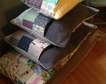 Patchwork Dog Snuggle Sack Cave Bed Homemade to Order