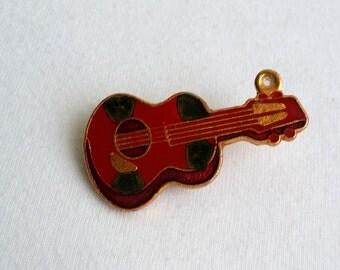 Vintage Gold Tone Enameled Guitar Tie Clip