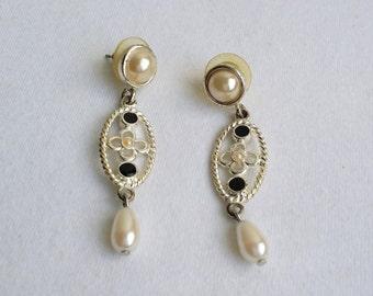 Vintage Silver Tone Faux Pearl Rope Stud Dangle Earrings