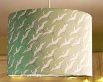 SALE!!! Asami Cranes Aqua, 30cm diameter Drum Lampshade