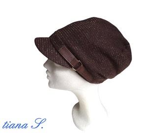 Beanie / hat, brown-gold
