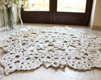 White Area Rug, Minimalist Rug, Modern White Rug, Crochet Doily, Hygge Home Decor, Handmade, Morrocan Decor, Bedroom Rug, Wedding Gift