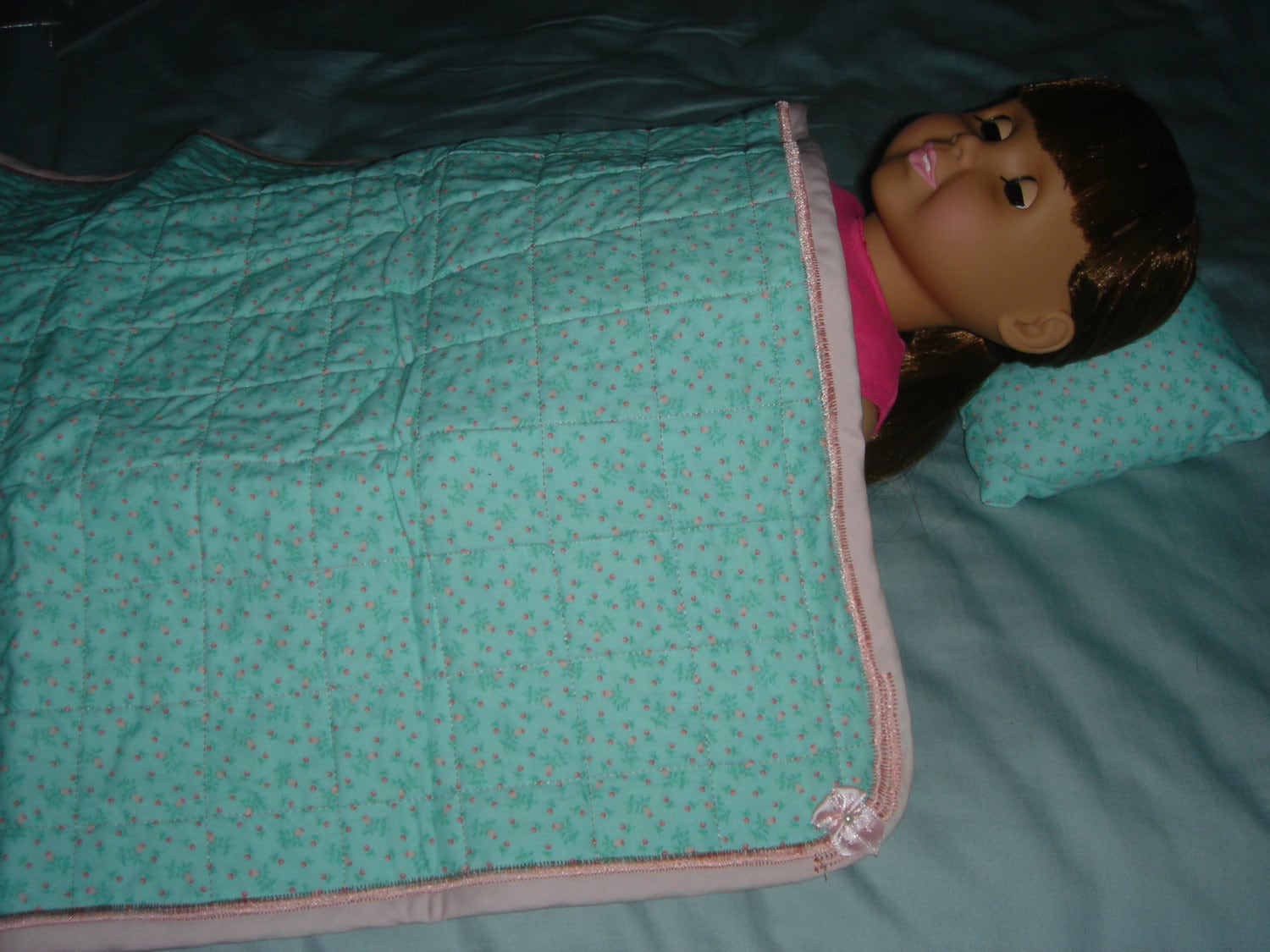 Quilted Doll Blanket and Pillow Set in Mint Green w/ Pink