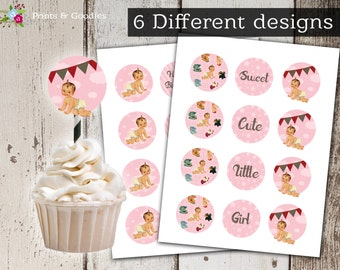 Baby girl printable Cupcake toppers Paper doll Shower party Cakes Instant download Birthday 2 inch Party Circles, Digital Collage pink stars