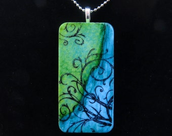 Domino Pendant Blue Green Filigree Hand Painted Domino Necklace