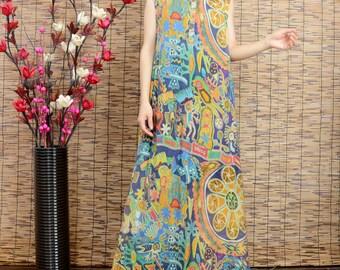 Womens Summer Sleeveless V Neck Silk Linen Jumper Dress, Summer Printed Floral Silk Linen Casual Dresses, Beach Dresses, Travel Dresses