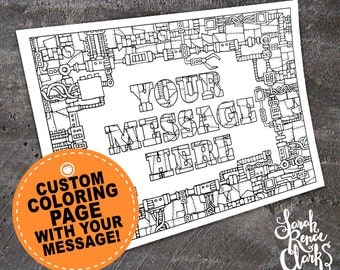 """Custom coloring page - Printable 11x8.5"""" PDF or JPEG mechanical coloring page made from your personalized message - robot steampunk sci fi"""