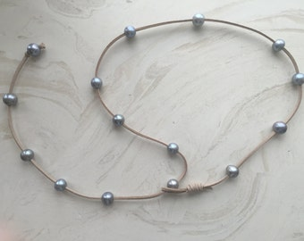 Leather and Pearl Lariat or Choker
