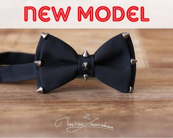 black bow tie - bowtie with spikes