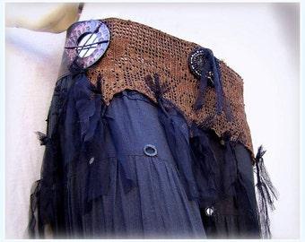 Tribal Bellydance Belt, Burlesque Belt, Tribal fusion Belly dance Belt with black tulle fringes