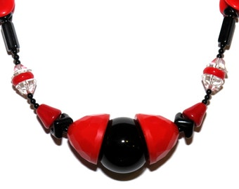 Art-deco style, vintage glass, crystal and onyx necklace, red and black