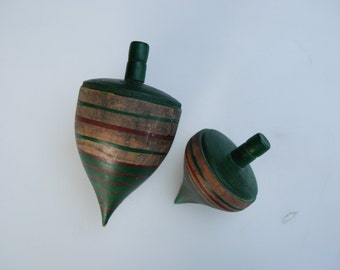 Vintage Wooden Oversized Spinning Tops