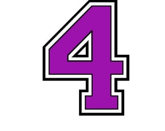 Iron on purple number 4 for Tshirt transfer  INSTANT DOWNLOAD Printable