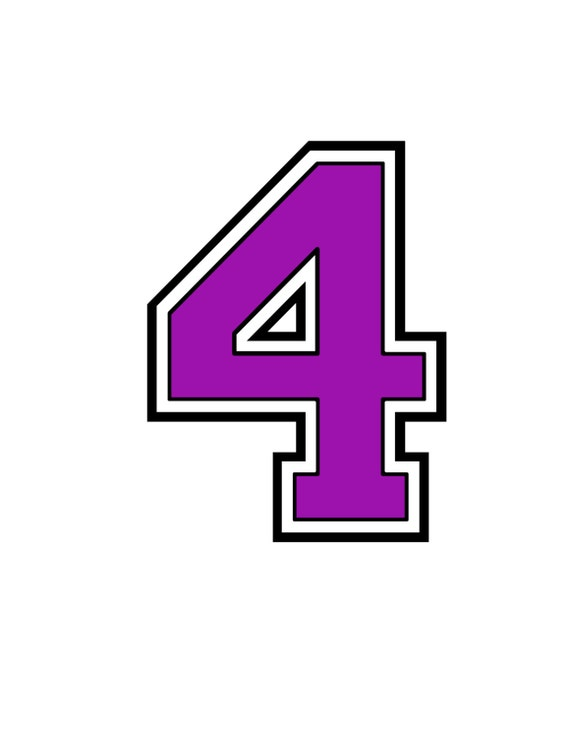 Iron On Purple Number 4 For Tshirt Transfer INSTANT DOWNLOAD