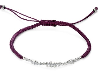 Purple cz charm woven cord bracelet
