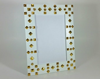 White Picture Frame - 4x6 Picture Frame - Studded Picture Frame - Wood Picture Frame