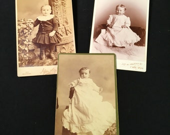 Set of Three (3) Cabinet Cards of Cute Kids, 19th Century Antique Photos by Hartley's Studio
