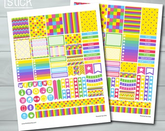 Colorful Planner Stickers - PRINTABLE JPG Sheet - 2 Versions: Happy Planner AND Erin Condren Life Planner (Vertical)