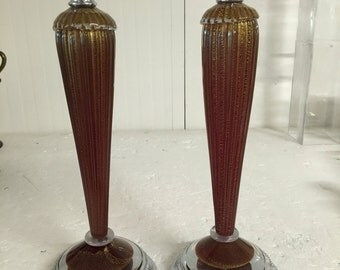 Two medium table lamp in red and gold murano glass