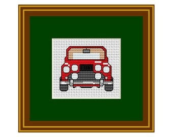 Counted Cross Stitch. Red Car. Vintage.  Pattern. PDF Instant Download. Counted Cross Stitch Patterns.