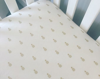 Gold pineapple crib sheet, fitted sheet, crib sheet pineapples, crib bedding, summer baby bedding