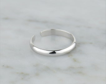Simple Band 925 Sterling Silver Toe Ring - Adjustable! Simple, Minimal