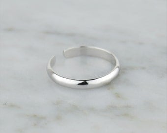 Sterling Silver 925 Plain Band Toe Ring - Adjustable! Simple, Minimal