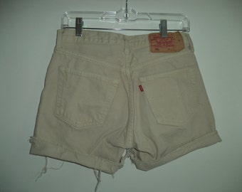 Levis Brussles Belgium Europe// Vintage 90's tan denim boho boyfriend hippie button fly mid rise jean cut offs// Unisex size 30 31 waist