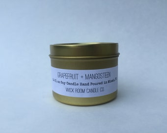 Grapefruit + Mangosteen Scented Soy Candle - Travel Tin