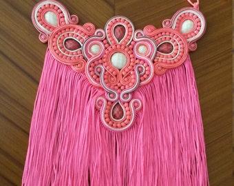 maxi necklace with long fringes soutache