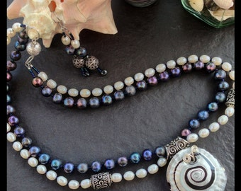 Pearl and silver set