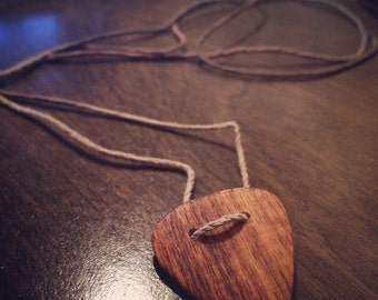 Handmade Wood Wooden Guitar Pick Necklace