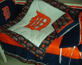 Pink Detroit Tigers Custom Made 8 pc (or made bumperless) nursery baby crib bedding set mw MLB Detroit Tigers fabric NEW