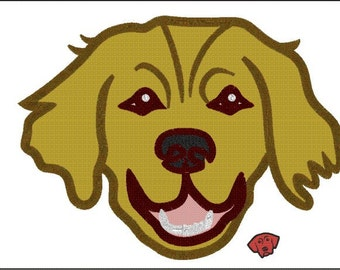 Golden Retriever Dog  Applique & Embroidery Designs in 6 sizes