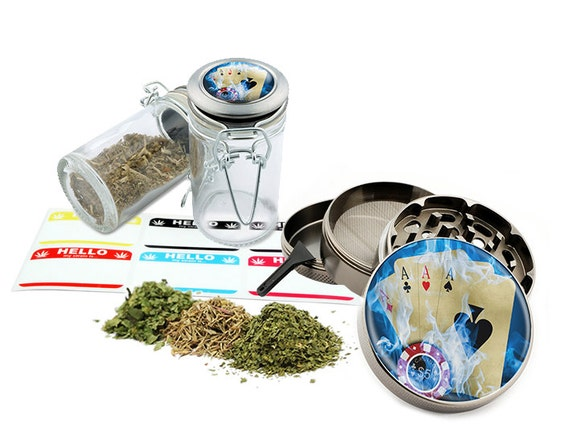 "Playing Cards - 2.5"" Zinc Alloy Grinder & 75ml Locking Top Glass Jar Combo Gift Set Item # 50G102015-41"