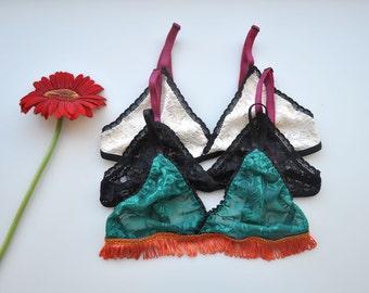 Pack of 3 Bralette floral lace bra wool bra southamerican pattern bralette wavy hem un padded sheer bralette lacy bralette pack of three bra