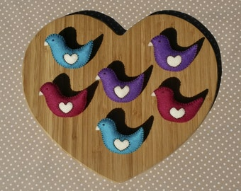 Handmade Colourful Felt Bird Brooches - Bright